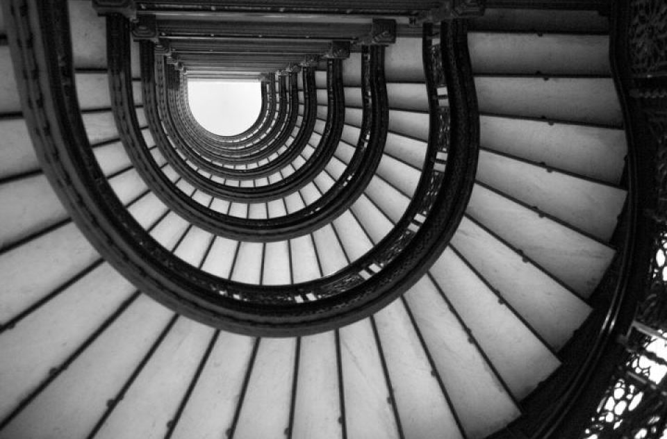 Rookery Building Chicago, stairway, Frank Lloyd Wright